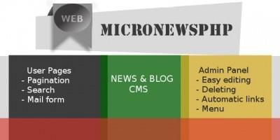 MicroNewsPhp - Tiny News & Blog CMS PHP