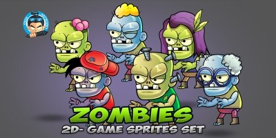 6 Zombies Game Sprites Set