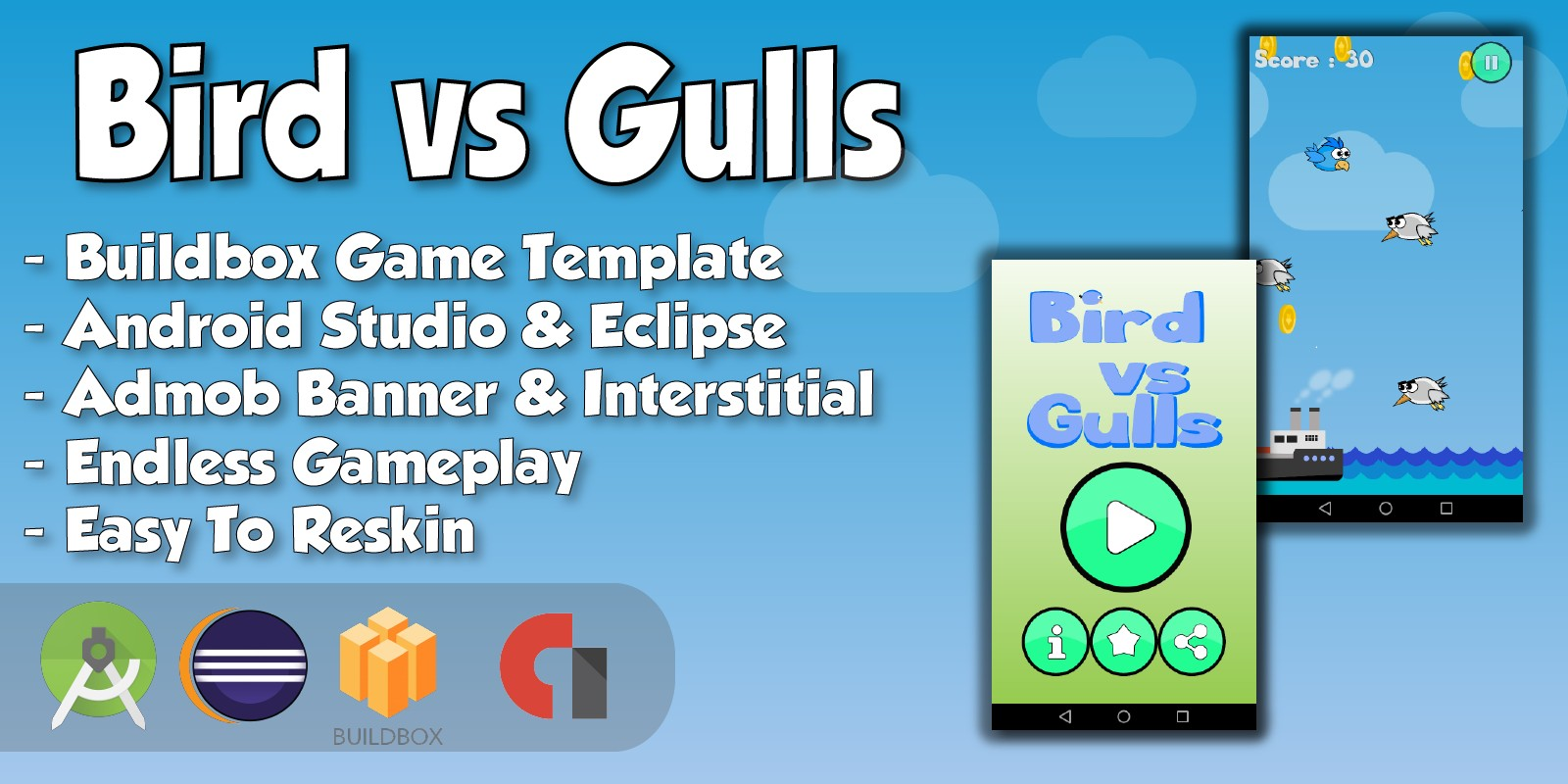 Bird vs Gulls - Buildbox Game Template