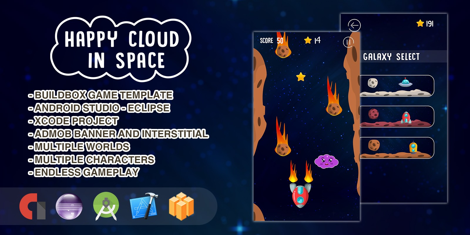 Happy Cloud in The Space - Buildbox Game Template