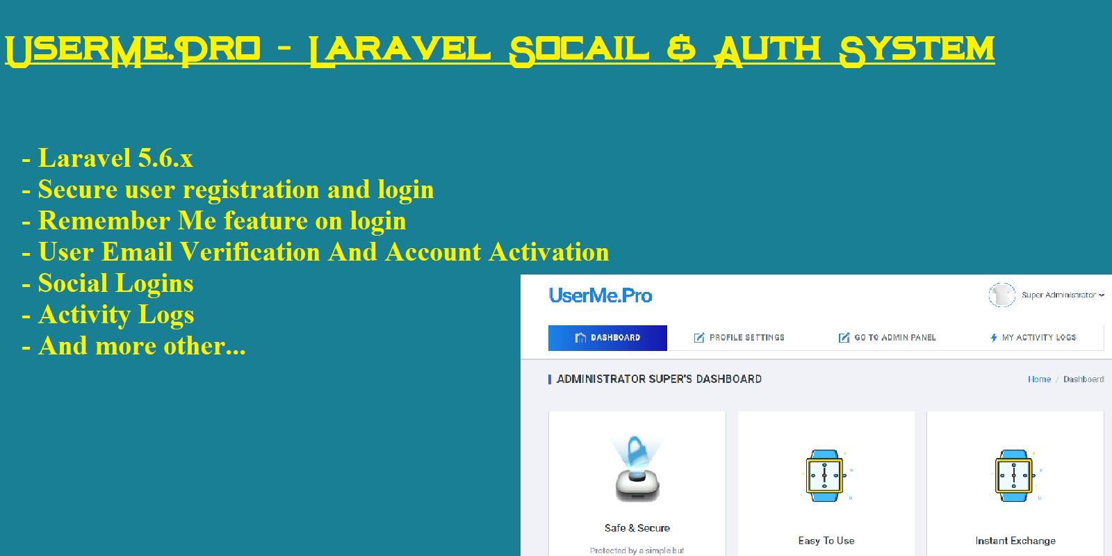 UserMe Pro - Laravel Social Auth System