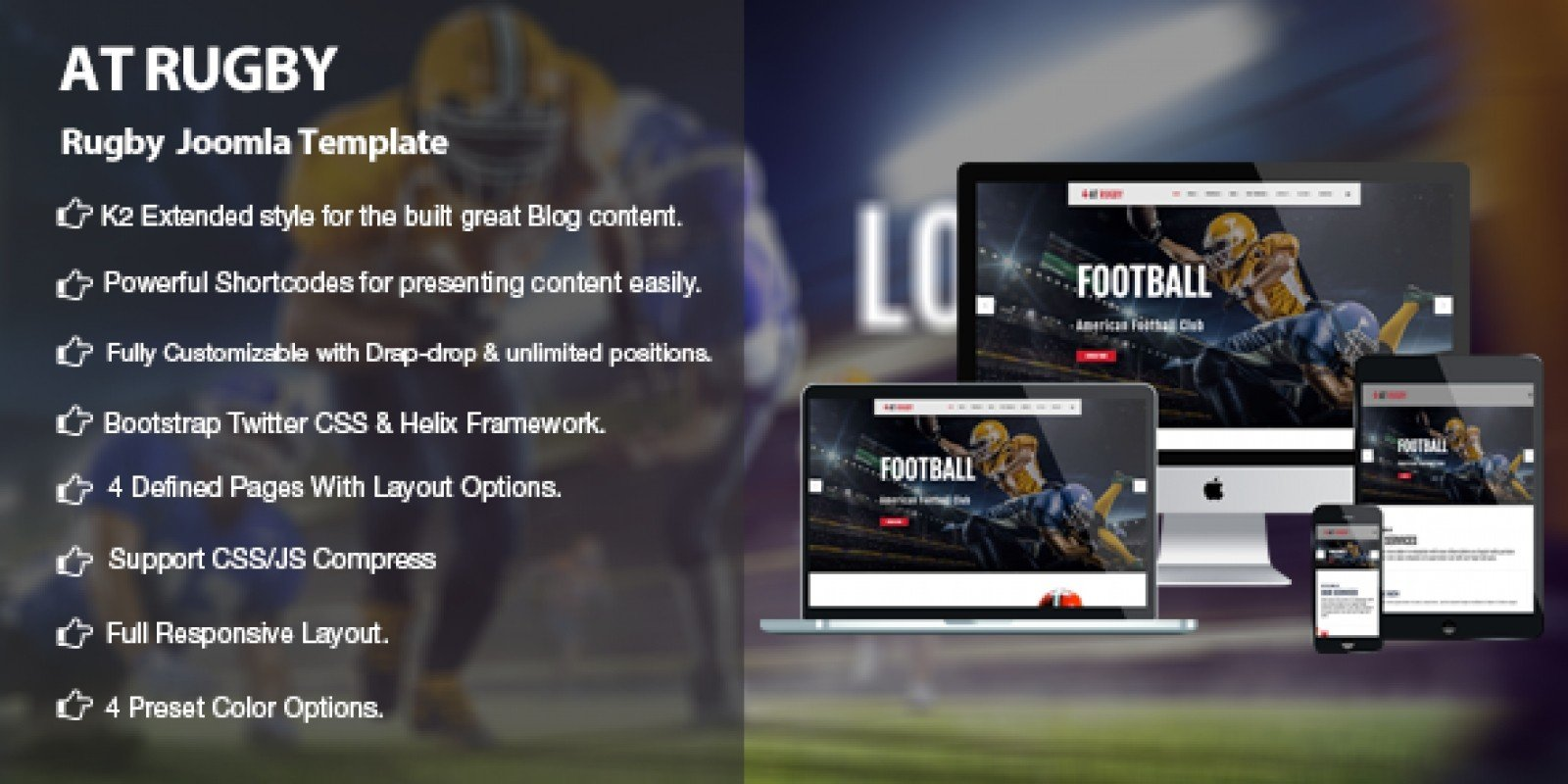 AT Rugby – American Football Joomla Template