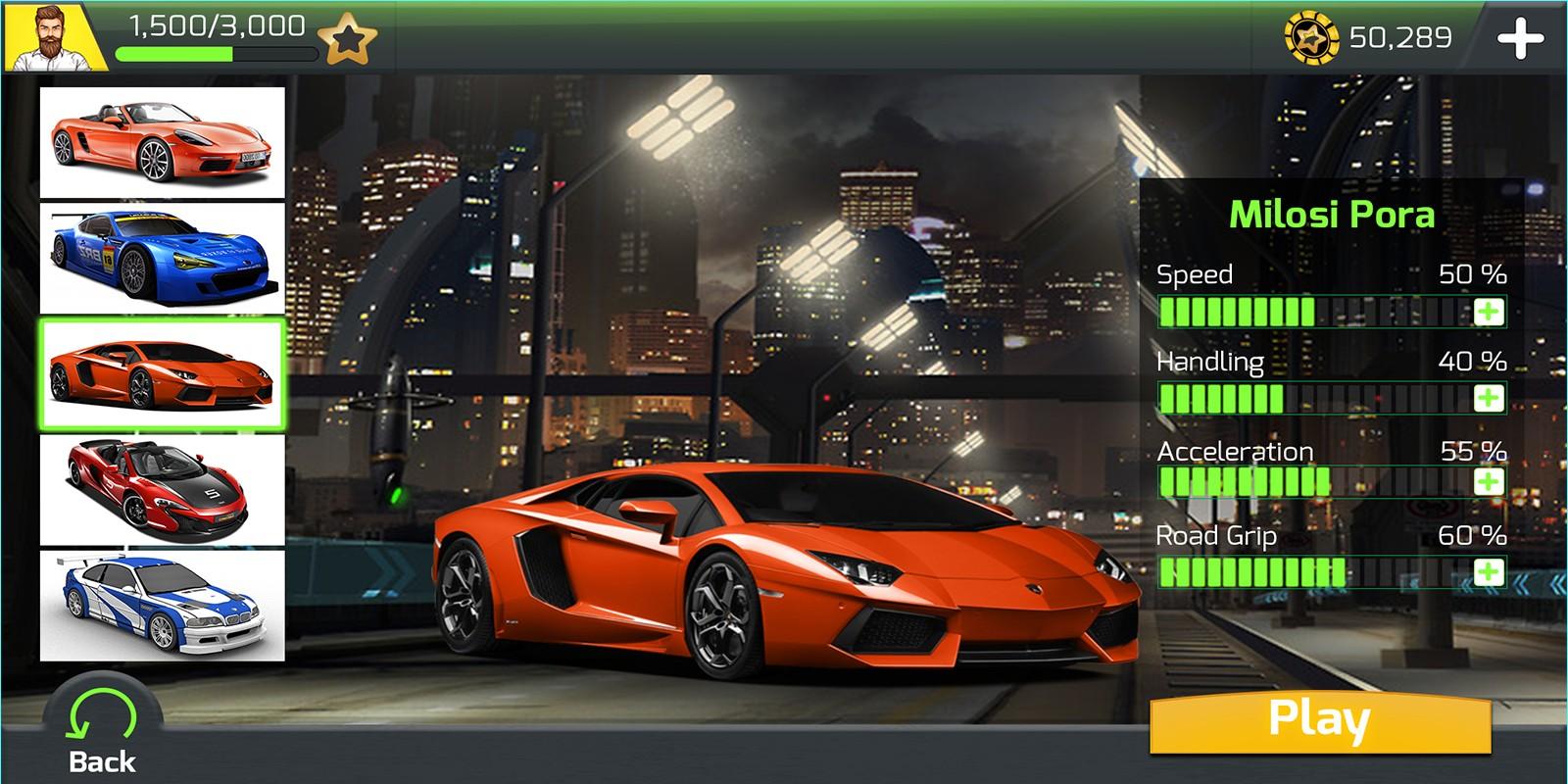 Racing Car Game UI Template Pack 6