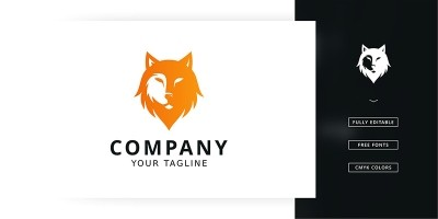 Half Wolf Logo Template