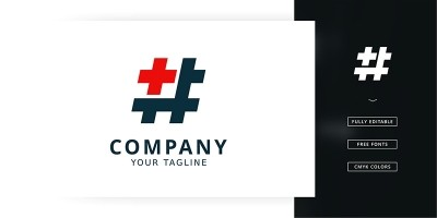 Hastag Plus Logo Template