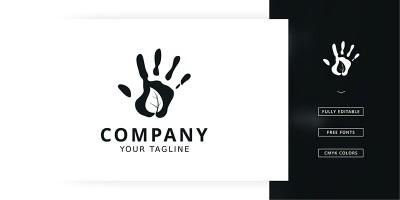 Leaf Hand Logo Template