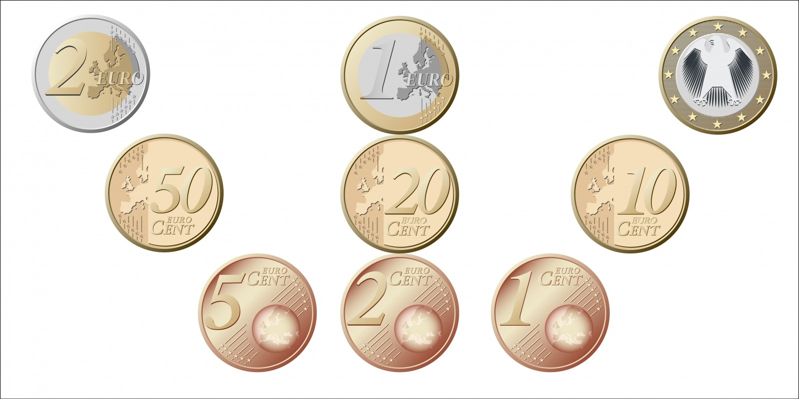 Euro Coins Vector Images