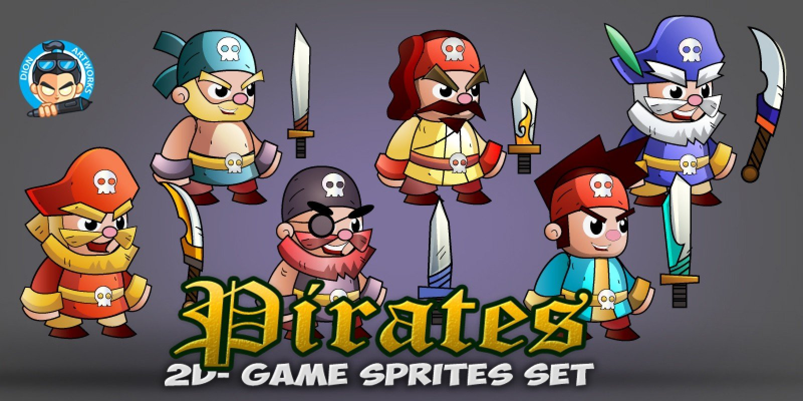6- Pirates 2D Game Character Sprites Set