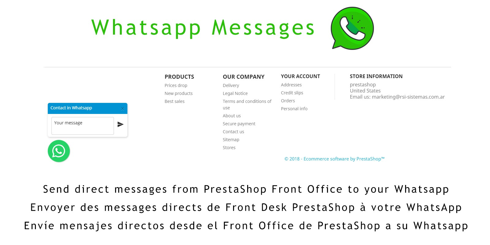 WhatsApp Messages PrestaShop Module