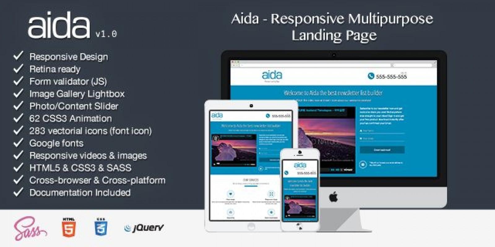 Aida - Responsive Multipurpose Landing Page