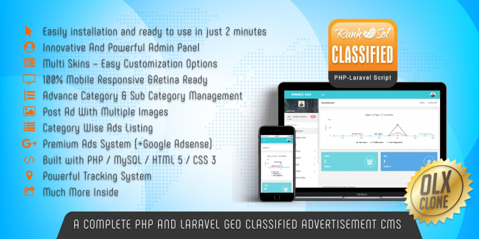 Ranksol Classified Ads Script PHP And Laravel CMS