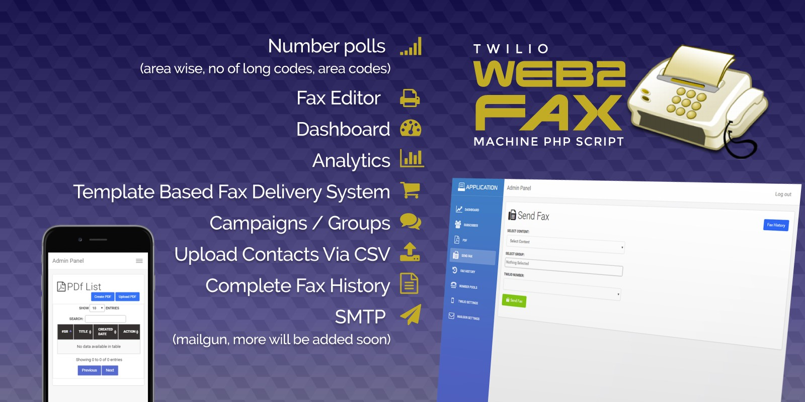 Twilio WEB To Fax Machine System PHP Application