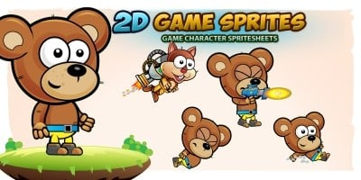 Bear 2D Game Character Sprites