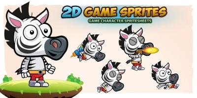 Zebra 2D Game Character Sprites