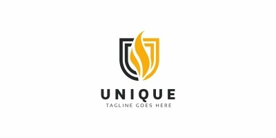 Unique Fire U Letter Logo