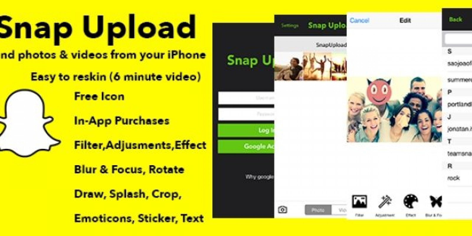 Snap upload ios app source code social network app templates for snap upload ios app source code ccuart Gallery