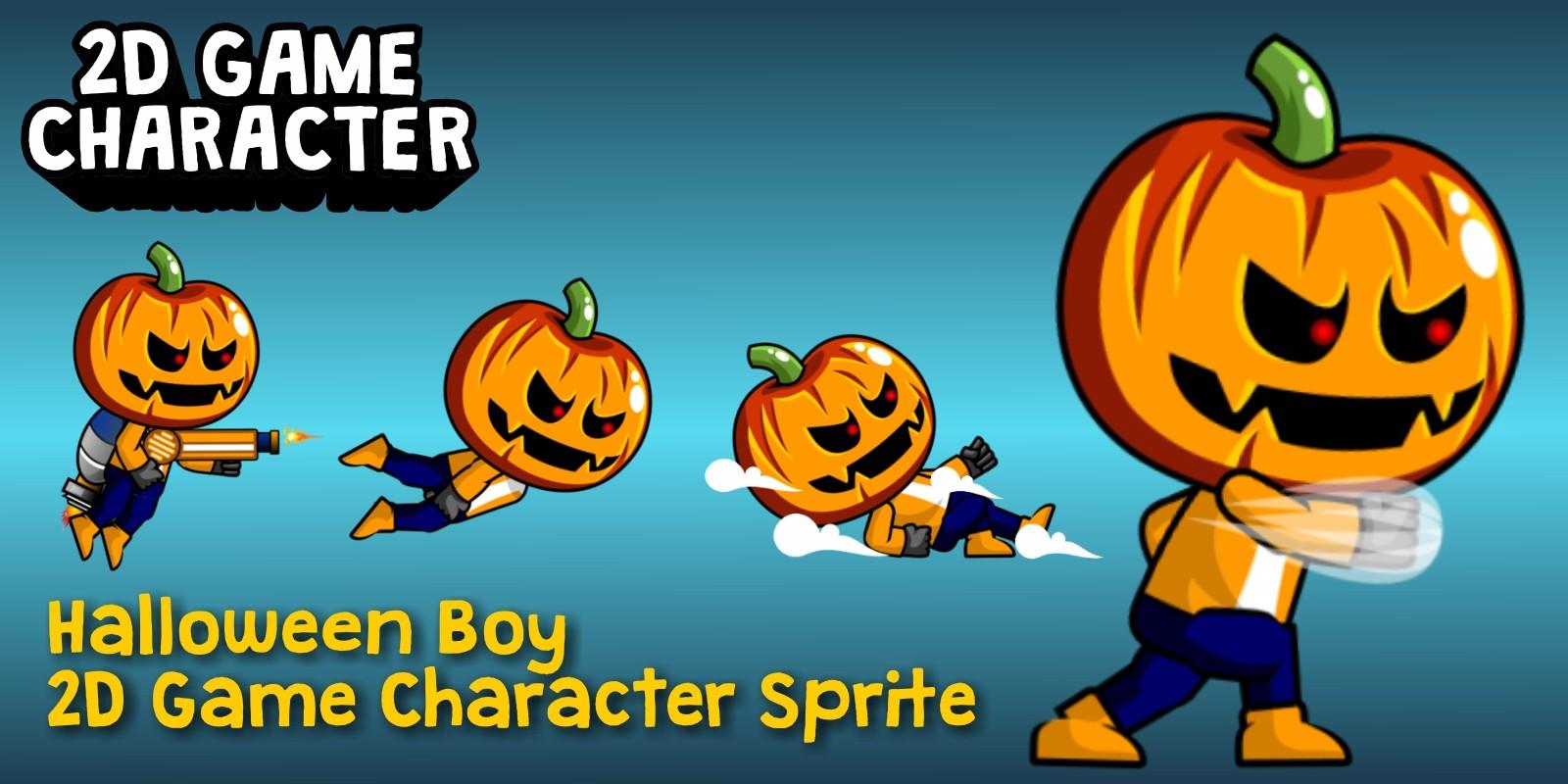 Halloween Boy 2D Game Character Sprite