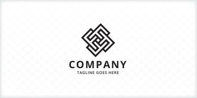 Geometric Square Monogram Letter F  Logo