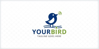 Cute little Bird Singing Logo