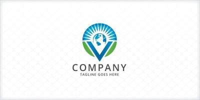 Letter V Globe Logo