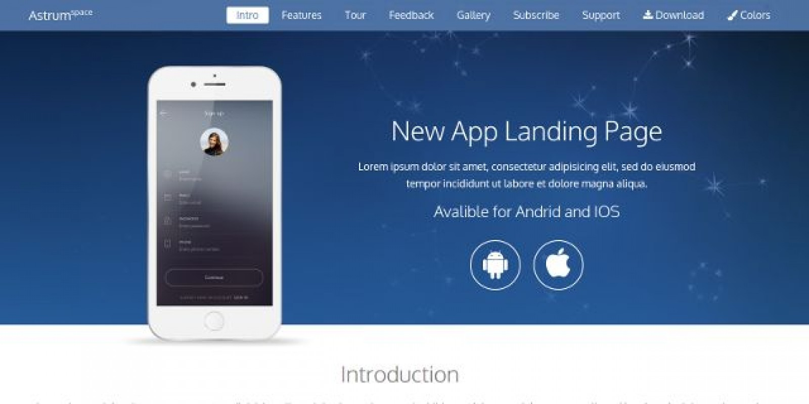 Astrum - Fresh & Clean App Landing Bootstrap Theme