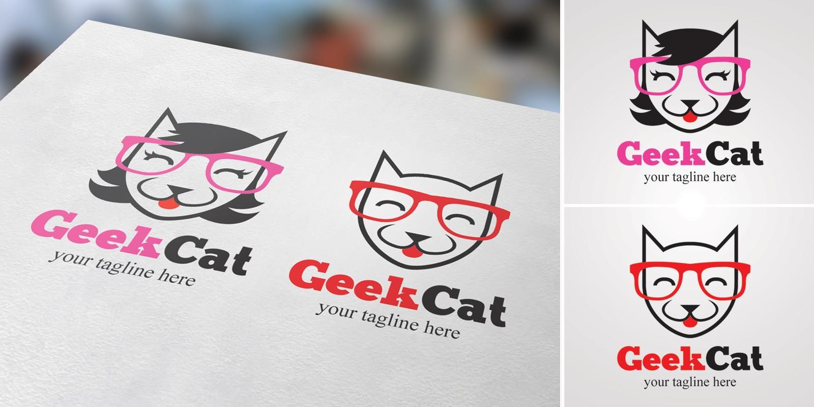 Geek Cat - Male And Female Logo