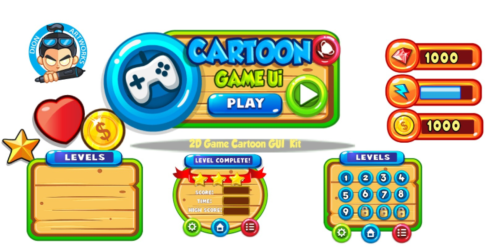 Cartoon Game Ui Set 10