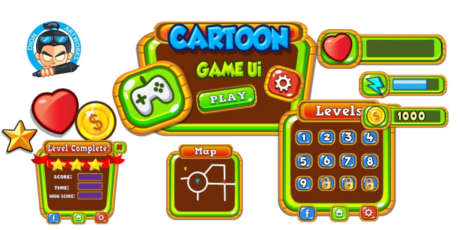 Cartoon Game Ui Set 11