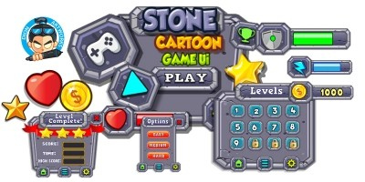 Stone Cartoon Game Ui Set  13