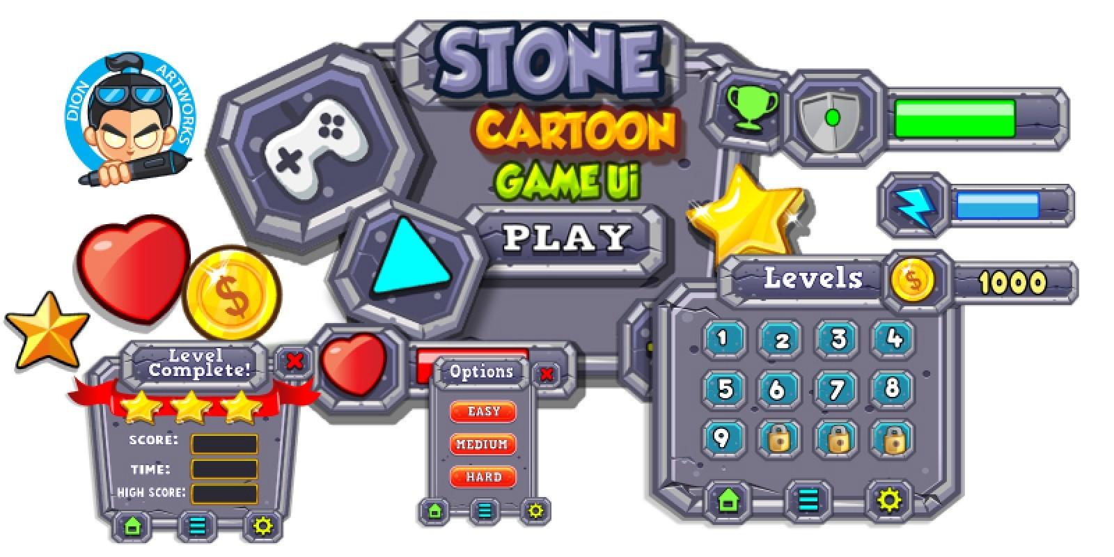 Stone Cartoon Game Ui Set  13