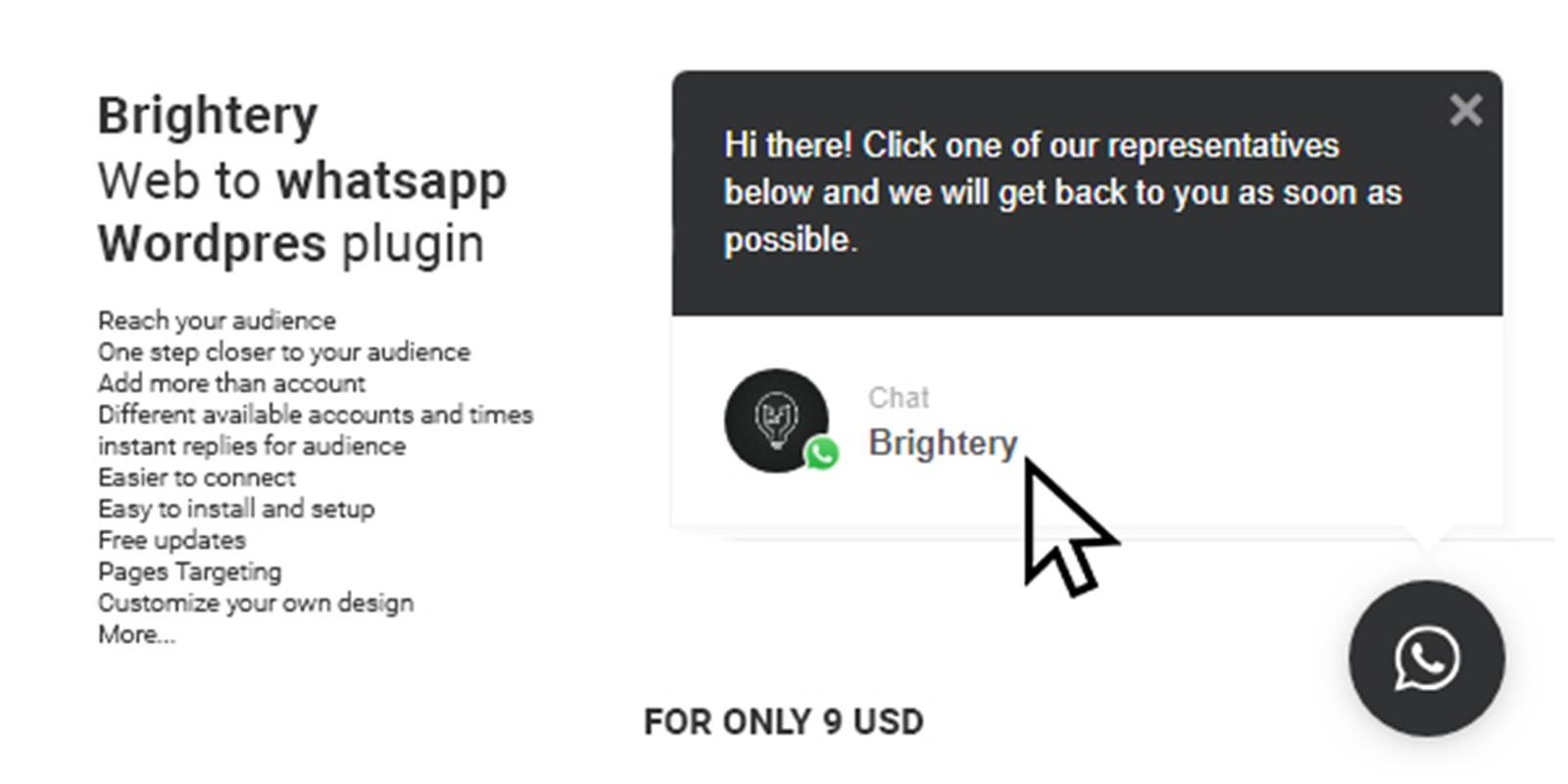 Brightery Web To WhatsApp Wordpress Plugin