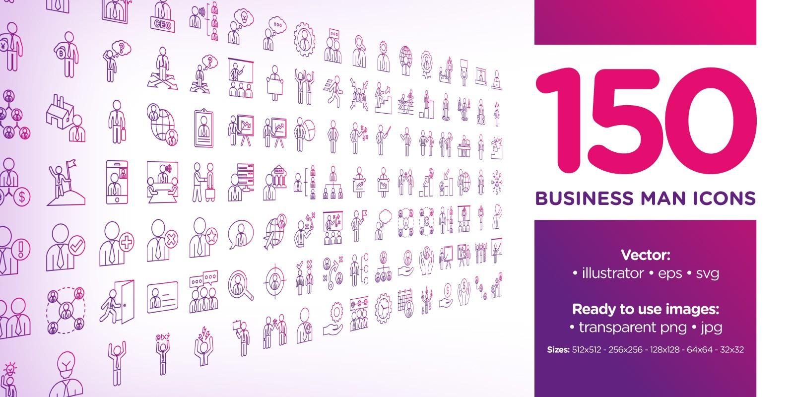 Business Man Purple Line