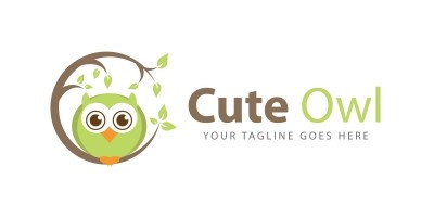 Cute Owl Bird Logo