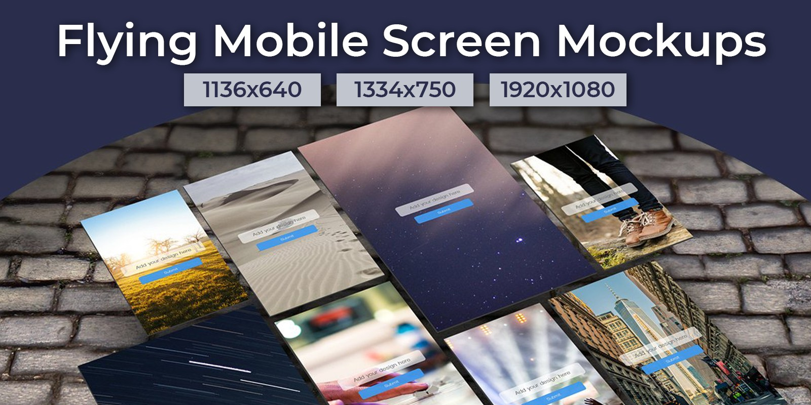 Flying Mobile Screen Mockups