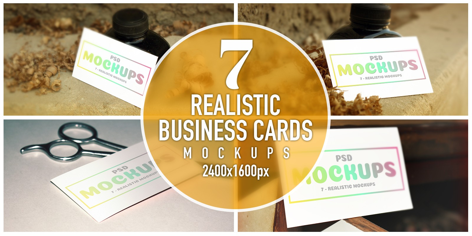 7 Realistic Business Cards Mockups