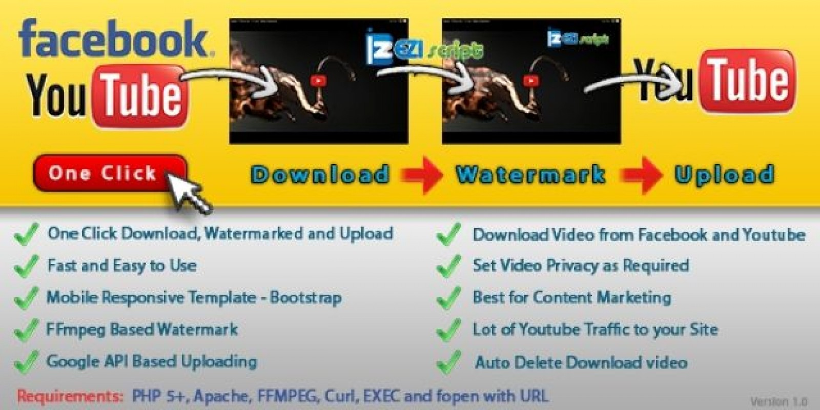 Youtube Auto Uploader with Watermark - PHP Script