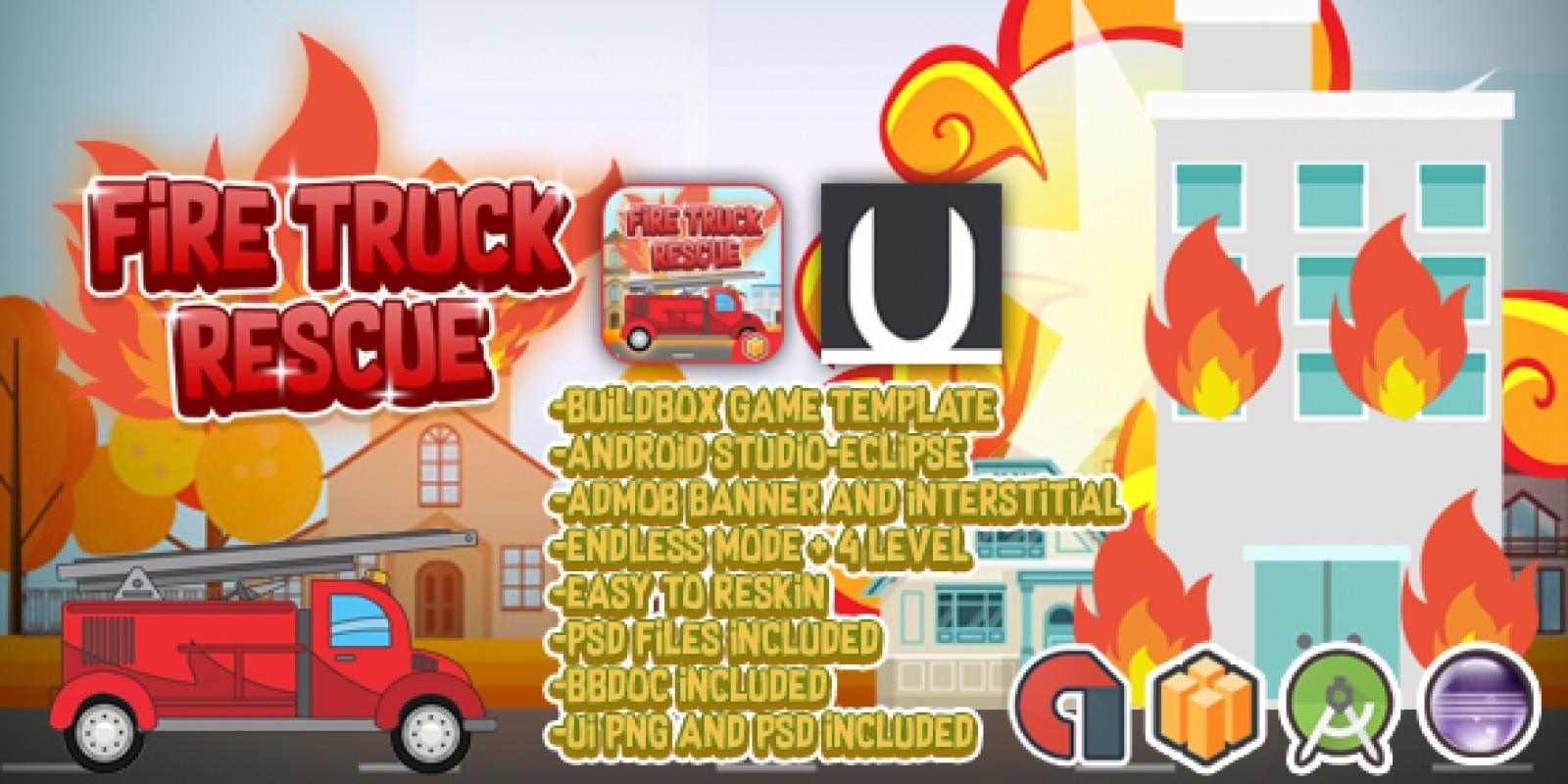 Truck Fire Rescue - Buildbox Template