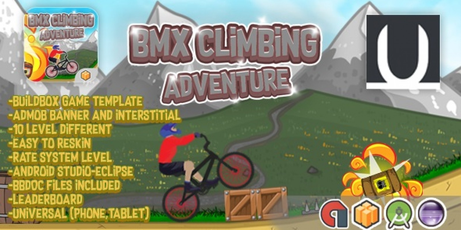 BMX Climbing Adventure - Buildbox Template