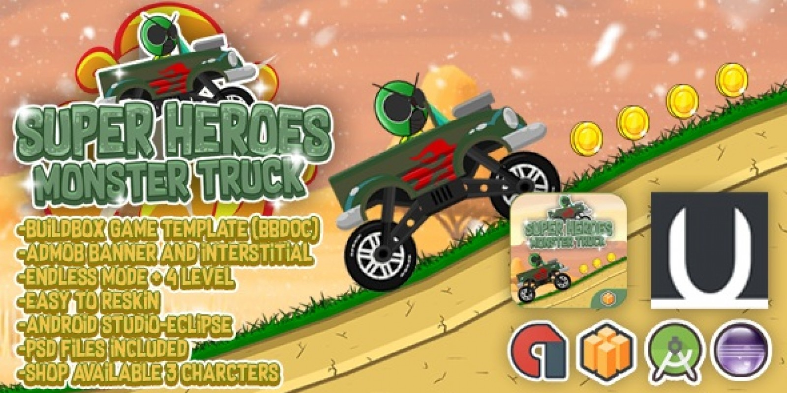 Super Heroes Monster Truck - Buildbox Template
