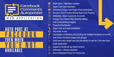 Facebook Comments Multi User Autoposter PHP Script