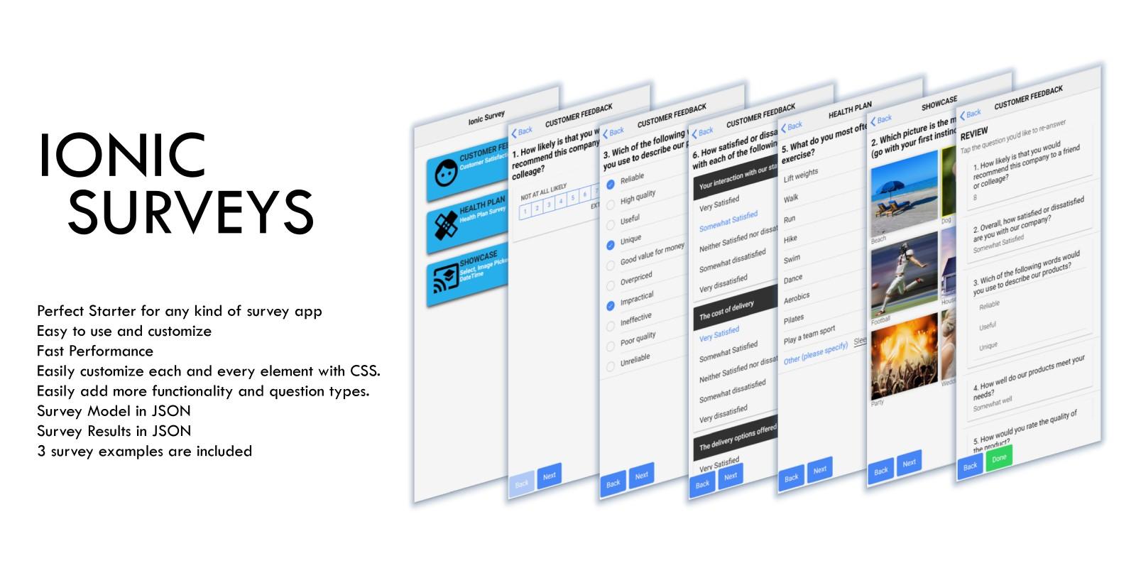 Ionic Surveys Survey Mobile App