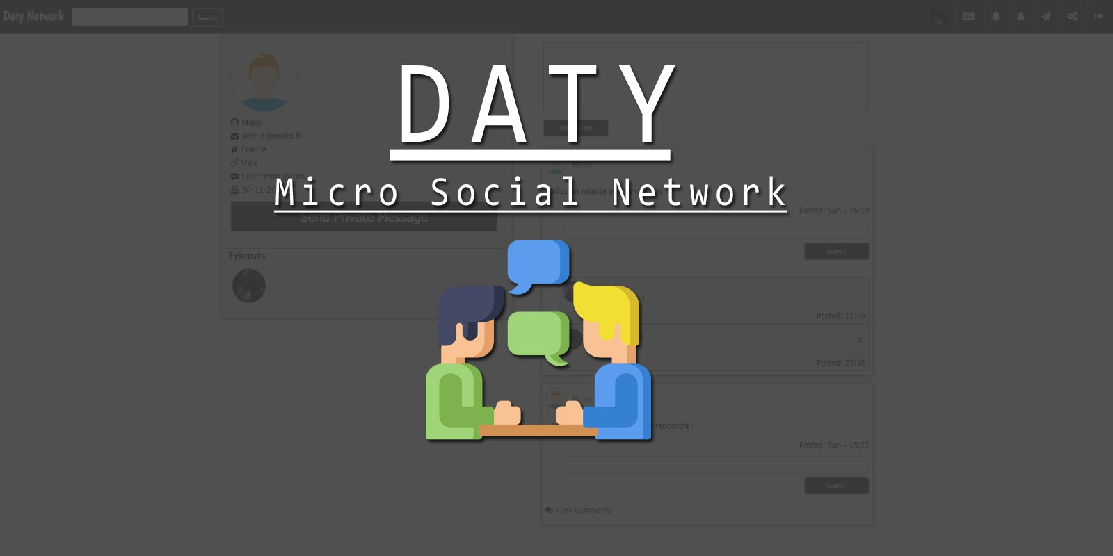 Daty - Micro Social Network PHP