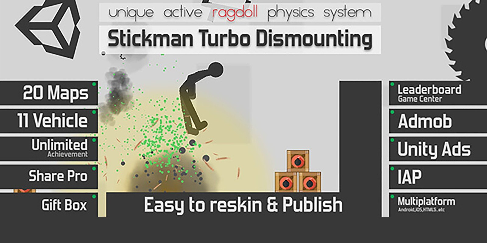 Stickman Turbo Dismounting - Unity Project