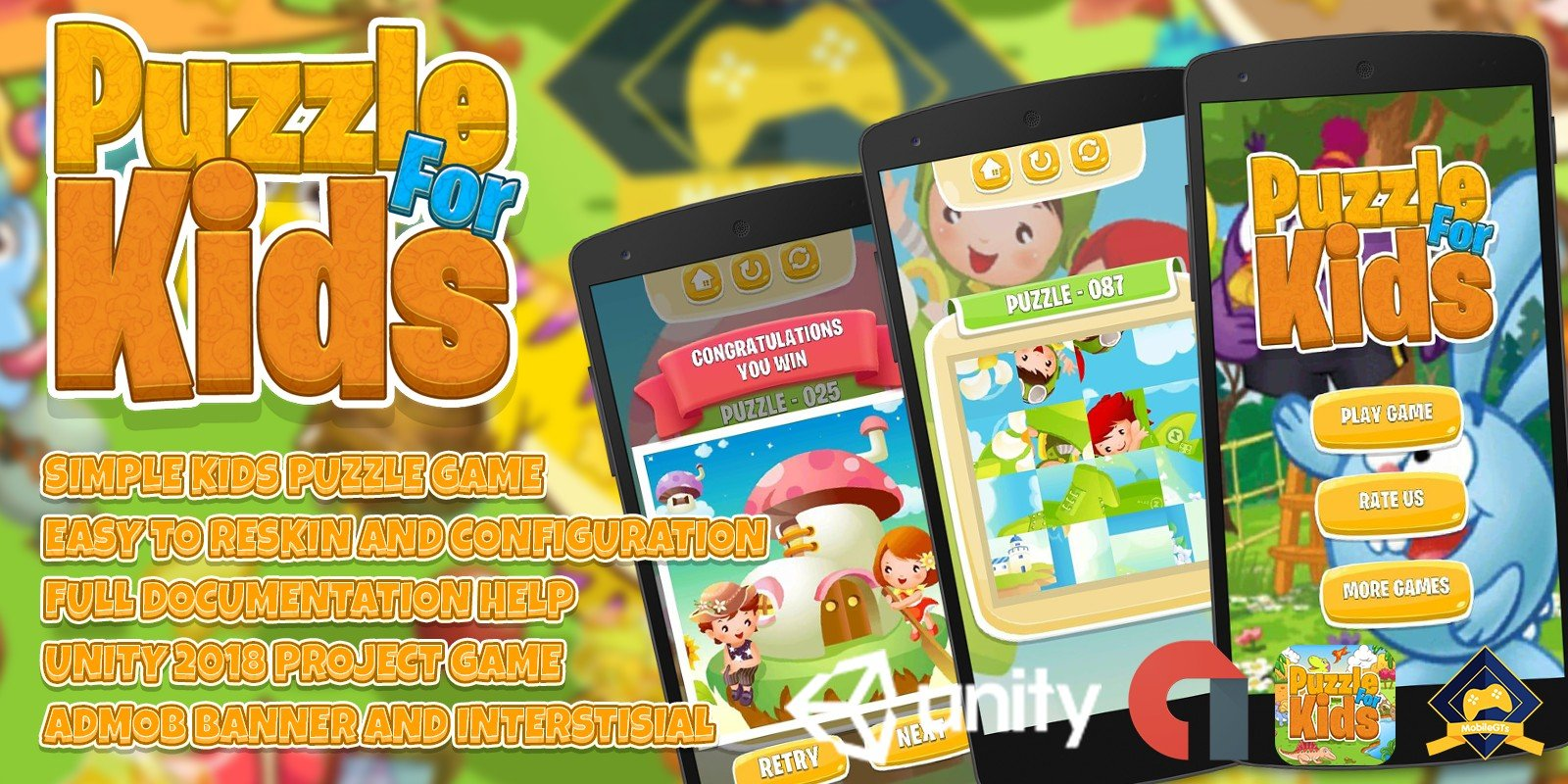 Puzzle Kids Game Unity 2018 Admob