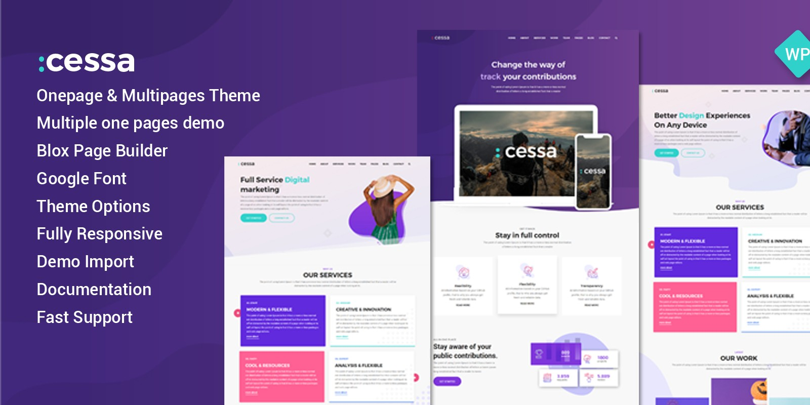 Cessa - Creative WordPress Onepage Theme