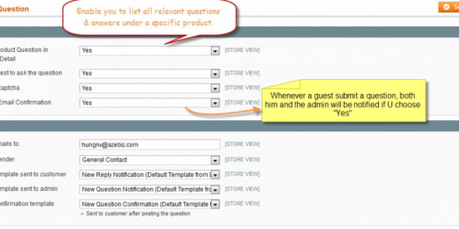 Product Question - Magento Extension