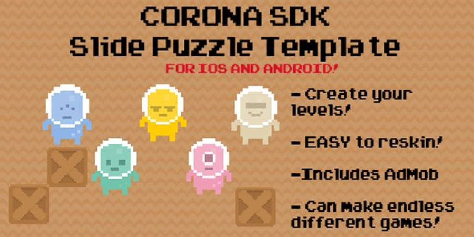 Slide Puzzle Corona App Template with AdMob