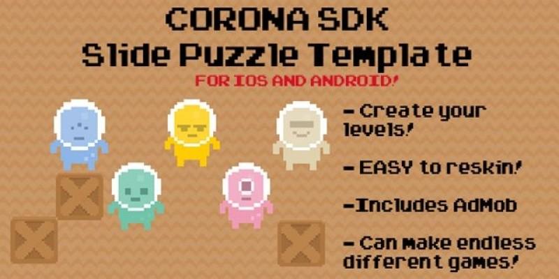 Slide Puzzle Corona App Template with AdMob