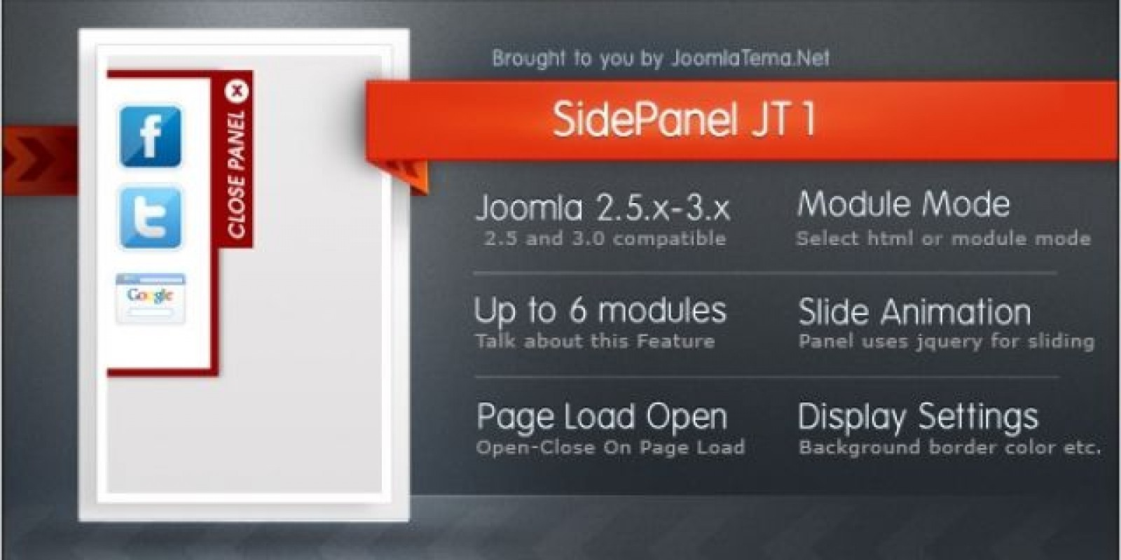 Side Panel JT1 Module for Joomla