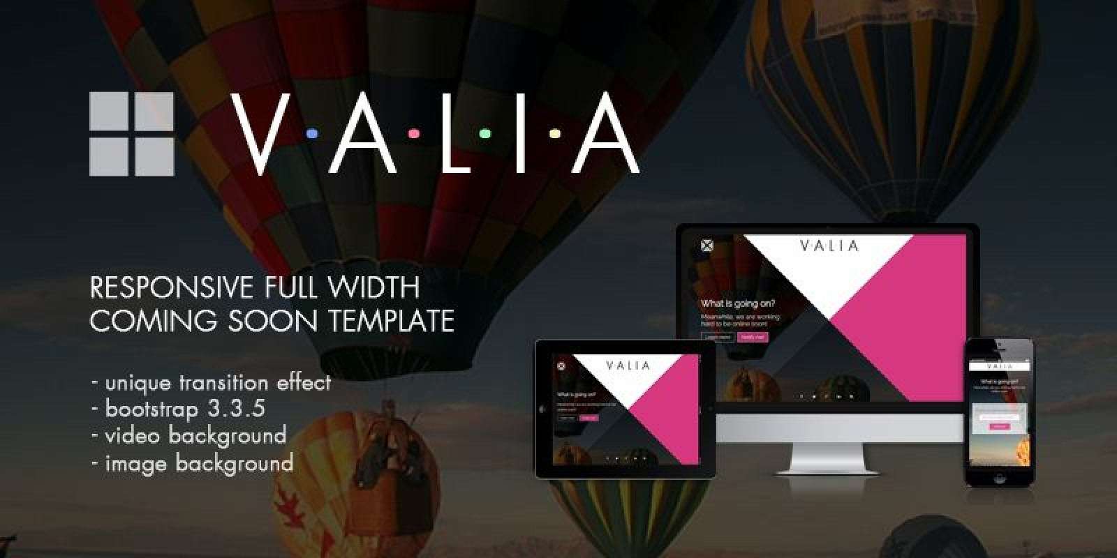 Valia - Responsive Coming Soon HTML Template